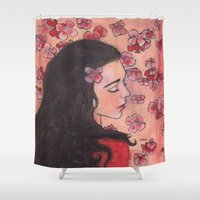 snow white Shower Curtains featuring Snow White by Sarah Larguier