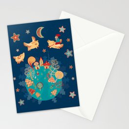 Flying pigs in the night, gnomes, fabulous houses, magical forest, mysterious planet. Stationery Cards