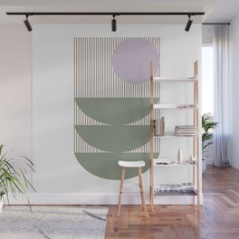 Lines and Shapes in Moss and Lilac Wall Mural