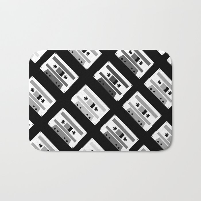 Black and White Tapes 45 Bath Mat