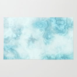 Blue marble abstract agate watercolor geode pattern Rug