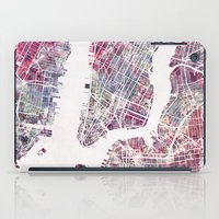 new york map iPad Cases featuring New York map by MapMapMaps.Watercolors