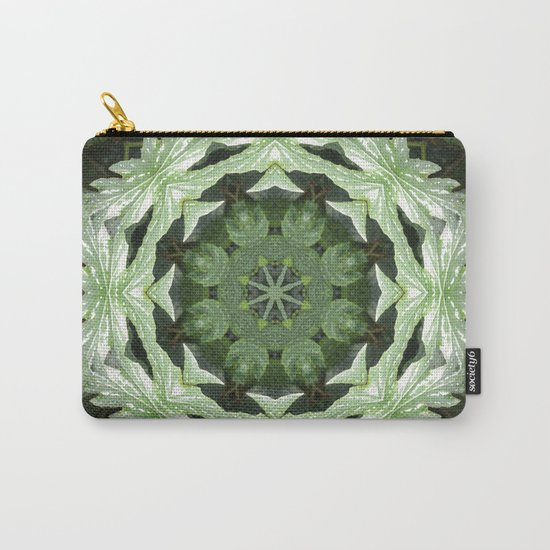 Tropical Twist - Green Leaves Kaleidoscope, Mandala Carry-All Pouch
