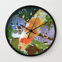 Japanese Koi in Pond - Orange & White Goldfish Watercolor Art Wall Clock