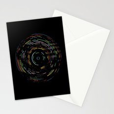 Rainbow Record on Black Stationery Cards