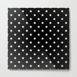 Black Background With White Stars Pattern Metal Print