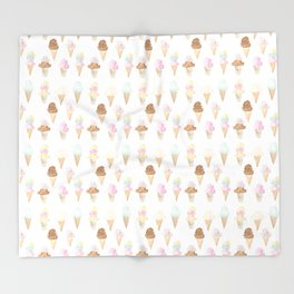 Watercolor Ice Cream Cones Throw Blanket