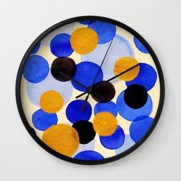 Blue Gold Watercolor Bubbles Circles Painting Wall Clock