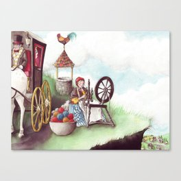 Mother Hulda - Spinning on the high road Canvas Print