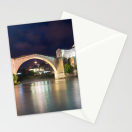 Stari Most ancient bridge in Mostar Bosnia and Herzegovina - Night Photography Stationery Cards