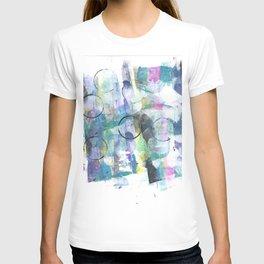 Green Blue Abstract with Black Circles T-shirt