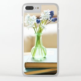 Blue and white flowers in green vase Clear iPhone Case