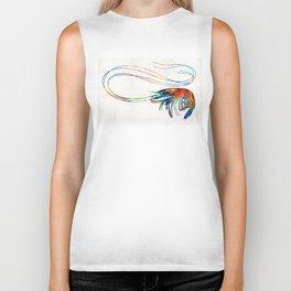 Colorful Shrimp Art by Sharon Cummings Biker Tank
