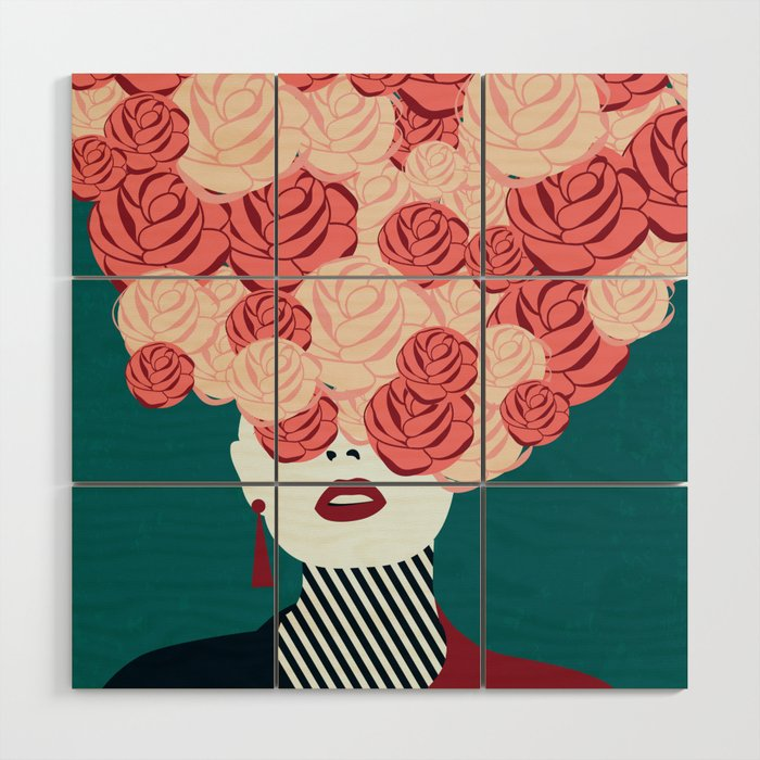 Women with roses Wood Wall Art