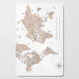 Where I've never been detailed world map in taupe Cutting Board