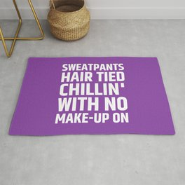 SWEATPANTS HAIR TIED CHILLIN' WITH NO MAKE-UP ON (Purple) Rug