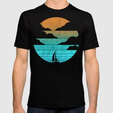 Go West (sail away in my boat) Mens Fitted Tee Black LARGE