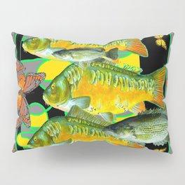 YELLOW & ORANGE MONARCH BUTTERFLIES FISH VIGNETTE Pillow Sham