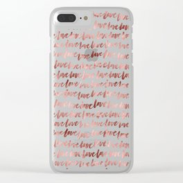 Rose Gold Love Pattern Clear iPhone Case