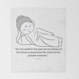 Contemplating Buddha with quote to inspire. Throw Blanket