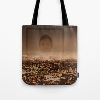 no face Tote Bags featuring Face by Sébastien BOUVIER