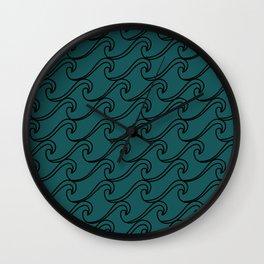 Sea Waves at Night Pattern - Dark Turquoise Wall Clock