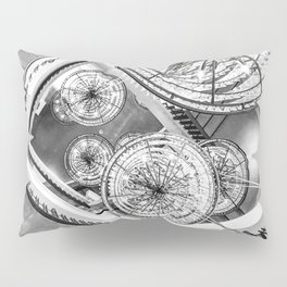 Abstract Perspective // Black and White Lighting Ornamental Chandelier Stairway View Pillow Sham