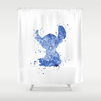 stitch Shower Curtains featuring Stitch Disneys by Carma Zoe