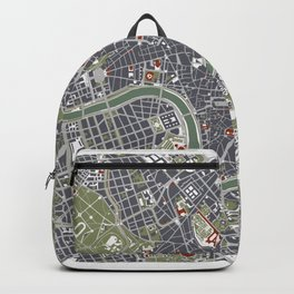 Rome city map engraving Backpack