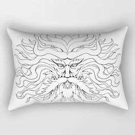 Helios Greek Sun God Head Drawing Black and White Rectangular Pillow