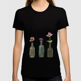 Flowers in Glass Bottles . Pastel Colors T-shirt