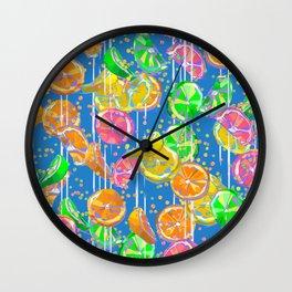 Pop Art Citrus Fizz | Blue Wall Clock