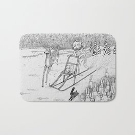 Kick-sledding Fox Bath Mat