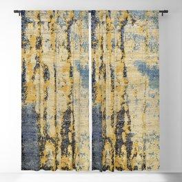 Blue Gold Oriental Rug Print Blackout Curtain