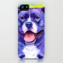 Colorful American Pitbull Terrier Dog iPhone Case