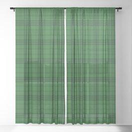 Green Plaid  Sheer Curtain