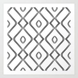 Modern Boho Ogee in Black and White Art Print