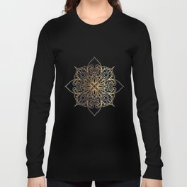 Gold and Navy Damask Long Sleeve T-shirt