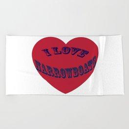 I love narrowboats heart Beach Towel