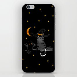 Magic Whitch cat in a hat and her black cat-bat for Halloween iPhone Skin