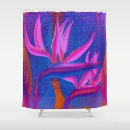 Floreal - Colorful Retro Colors Tropical Floral Surrealism Shower Curtain
