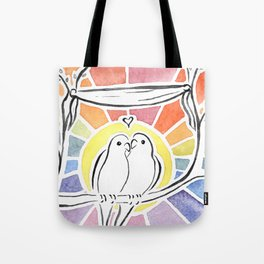 Wedding Love Birds at Sunset Tote Bag