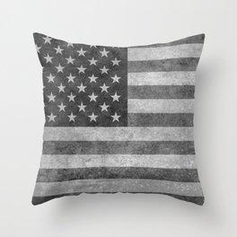 USA flag - Grayscale high quality image Throw Pillow