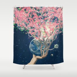 Love Makes The Earth Bloom Shower Curtain