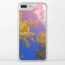 yellow birch leaves against the sky, autumn background. toning. Clear iPhone Case