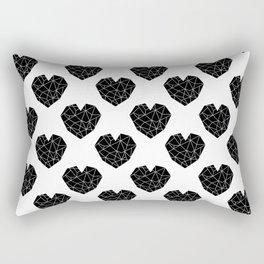 Hearts black and white geometric minimal basic simple design pattern valentines day Rectangular Pillow