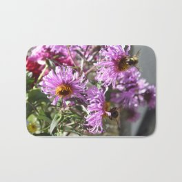 Two Busy Bees on Violet Flowers Bath Mat