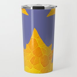 Stained Glass Tiffany style Sycamore leaves on green Travel Mug