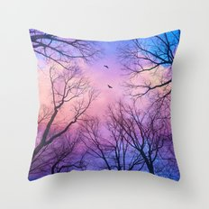 A New Day Will Dawn  (Day Tree Silhouettes) Throw Pillow