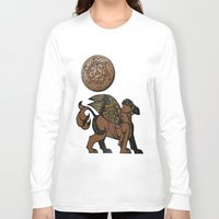 mythology Long Sleeve T-shirts featuring Gryphon New Age Mythology Folk Art by BohemianBound